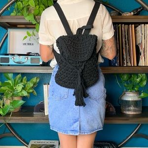 PacSun black knit backpack with adjustable straps